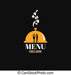 cibo, piatti, menu, disegno, bevanda