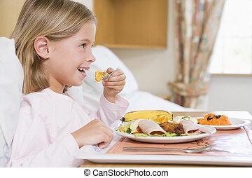 cibo, ragazza, mangiare, ospedale, giovane