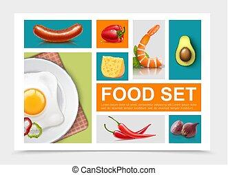 cibo, realistico, elementi, collezione