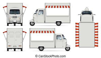 cibo, realistico, vettore, camion, illustrazione