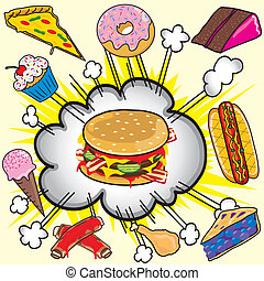 cibo, rifiuto, explosion!