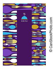cibo, ristorante, menu, disegno, in, viola