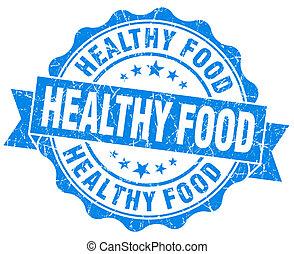 cibo sano, blu, grunge, sigillo, isolato, bianco, fondo