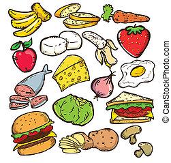 cibo sano, colorare, versione