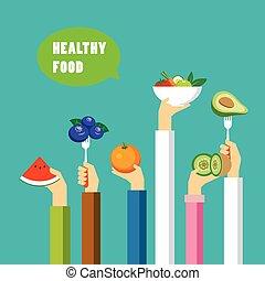 cibo sano, concetto, appartamento, disegno