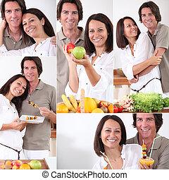 cibo sano, coppia, mangiare