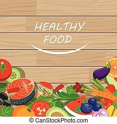 cibo sano, cornice, su, legno, tavola
