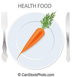 cibo sano, icon., vettore, illustrazione