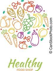 cibo sano, negozio, logotipo, con, frutta, e, verdura, icone