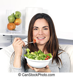 cibo sano, ragazza, mangiare