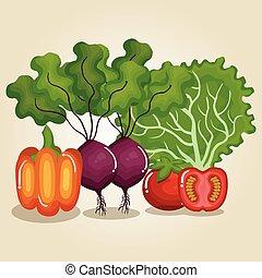 cibo sano, verdura, set