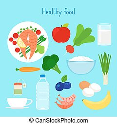 cibo sano, vettore, illustrazione