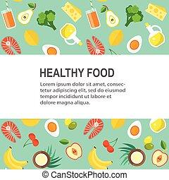 cibo sano, vettore, sagoma