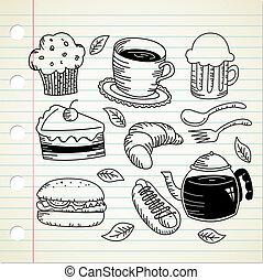 cibo, scarabocchiare, bevanda