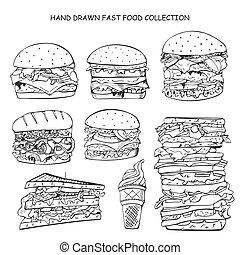 cibo, scarabocchiare, digiuno, mano, collection., disegnato, style.