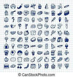 cibo, scarabocchiare, icone