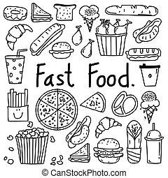 cibo, scarabocchiare, set., digiuno, mano, vettore, disegnato, linea