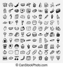 cibo, scarabocchiare, set, icone