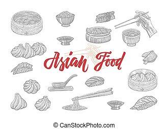 cibo, schizzo, asiatico, collezione