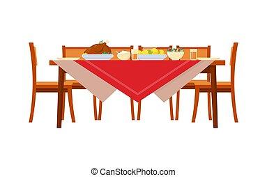 cibo, sedie, vettore, tavola, servito, vacanza