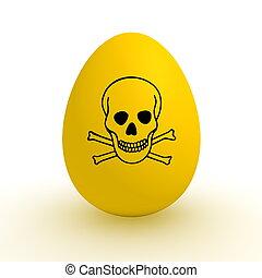cibo, -, segno giallo, veleno, inquinato, uovo