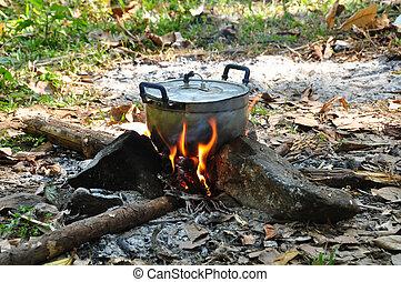 cibo, selvatico, falò, preparare, campeggio