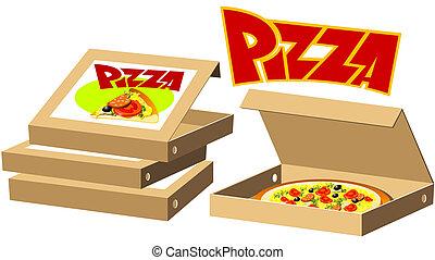 cibo, serie, scatole, -, pizza