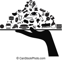 cibo, servire, icone