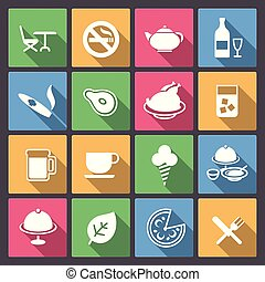 cibo, set, alcool, bevanda, icone