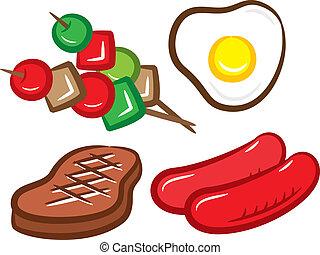 cibo, set, barbeque