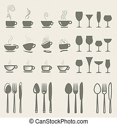 cibo, set, bevanda, icone