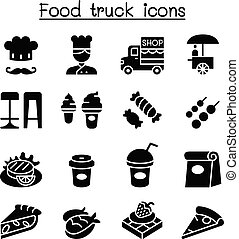 cibo, set, camion, icona