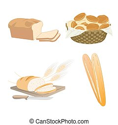 cibo, set, cartone animato, bread