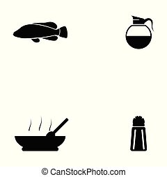 cibo, set, cinese, icona