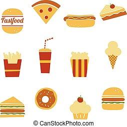 cibo, set, digiuno, icona