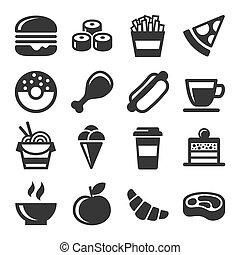 cibo, set, digiuno, icone