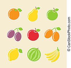 cibo, set, frutta, icona