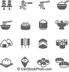 cibo, set, -, icona