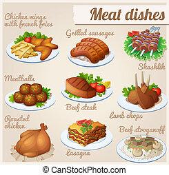 cibo, set, icons., dishes., carne