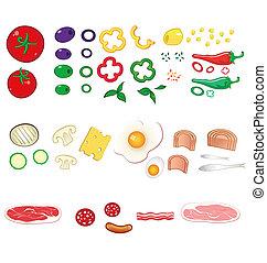 cibo, set, ingredienti