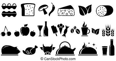 cibo, set, isolato, oggetti
