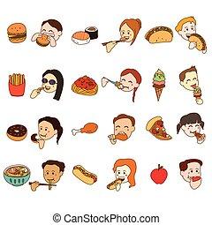 cibo, set, mangiare, icona, persone