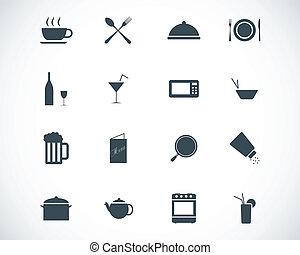 cibo, set, nero, vettore, icone