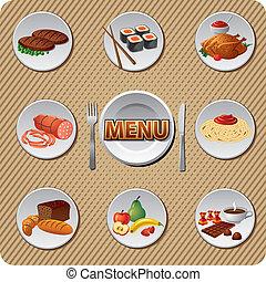 cibo, set, pasto, icona