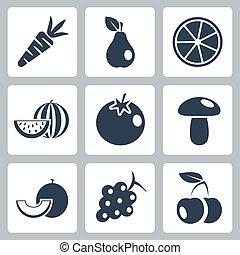 cibo, set, salute, vettore, icone