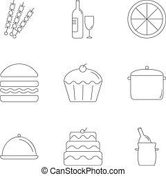 cibo, set, stile, contorno, icone