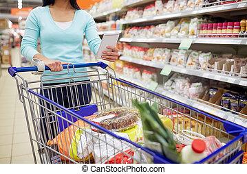cibo, shopping donna, supermercato, carrello