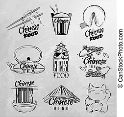 cibo, simboli, cinese, carbone
