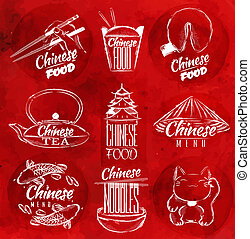cibo, simboli, cinese, rosso