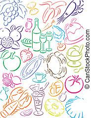 cibo, simboli, colorato, pastell